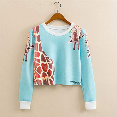Simayixx Sweatshirts for Women Women Teens Giraffe Print Long Sleeve Cropped Sweatshirt Plus Size at Amazon Womens Clothing store: