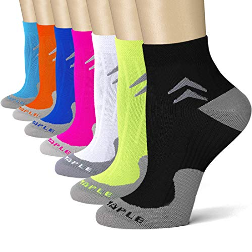 Bluemaple 7 Pair Compression Socks for Women and Men, Compression Ankle Socks, Regular wear, Fashion wear -Say Goodbye to Your Pain(7pack-L/XL) (Best Shoes To Wear In The Operating Room)
