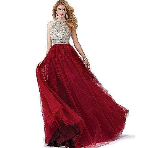 Sumintras sequin beaded keyhole back tulle ball gown prom dress (L, Wine)