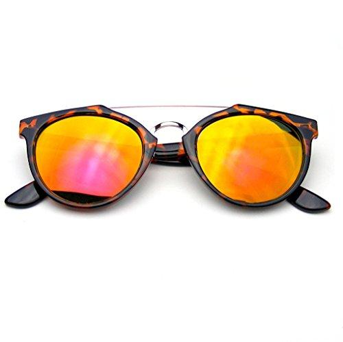 Vintage Roja Transversal La Dapper Flash Gafas Eyewear En Emblem Inspirado Sol Tortuga Barra Espejo De Lente qxFZnfB45w