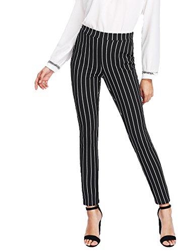 SweatyRocks Women's Casual Long Pants Striped Stretchy Elegant Work Pants Black M by SweatyRocks