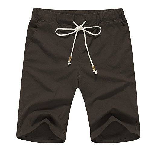 - Janmid Men's Linen Casual Classic Fit Short (L, Coffee)