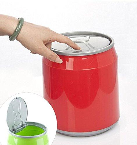 Rouge Heylookhere Creative Plastique poubelles de bureau Trash Mini Pen Container Cola Trash