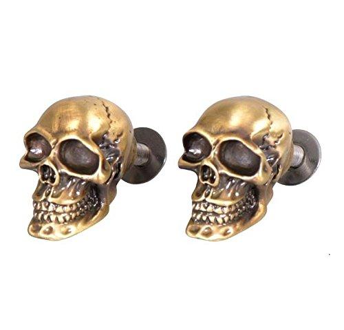 Paire de vis boulons Skull tete de mort laiton