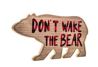 Don't Wake The Bear Buffalo Plaid Wood Wall Sign - Woodland Nursery Decor - Red and Black Buffalo Plaid adventure sign