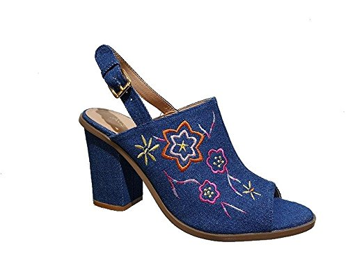 Embroidered Slingback - Women's Sling-back Embroidered Mule (5.5, denim)