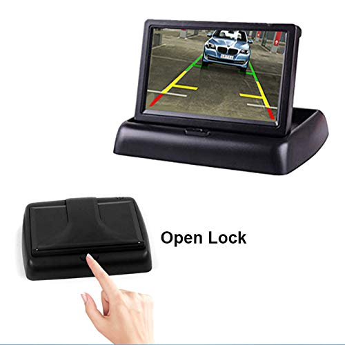 WEPECULIOR 4.3 Inch Car Rearview Foldable Monitor, Car Digital Parking Rearview Monitor TFT LCD Display Screen Reversing Camera/VCD/ DVD ()