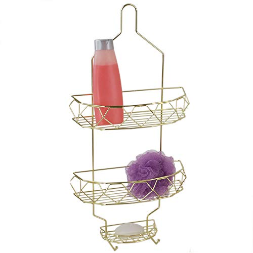 Polished Brass Shower Caddy - Home Basics Co Prism 2 Tier Bathroom Tub & Shower Hanging Storage Organizer Caddy with Built-in Hooks for Razor or Loofah and Two Extra Wide Basket for Shampoo, Conditioner and Soap (Gold)