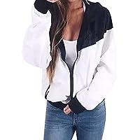 Clearance Sale! Auwer Women's Long Sleeve Hooded Zipper Pockets Sport Coat Patchwork Thin Skinsuits