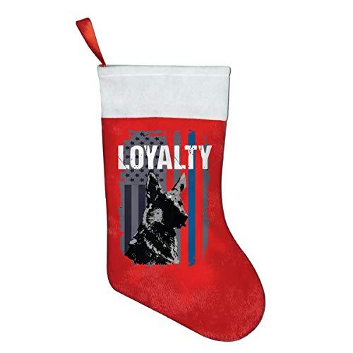(YISHOW Police K9 Unit Dog Loyalty Thin Blue Line Flag Christmas Holiday Stockings)