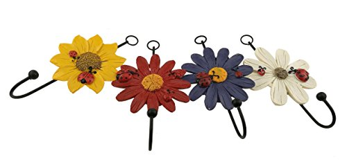 Country Style Set of 4 Daisy Little Chrysanthemum Sunflower Ladybug Pattern Resin Wall Mount Hanger Hook Home Decoration Ornament Gift (Resin Ladybug)