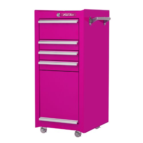 The Original Pink Box PB1804R 16-Inch 4-Drawer 18G Steel Rolling Tool / Salon Cart, with Bulk Storage, Pink