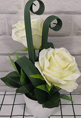 Artificial Roses Flowers with Pot Decor 2 Heads for Home Arrangement Wedding Office Windowsill Party Garden Coffee Shop Decoration (White)