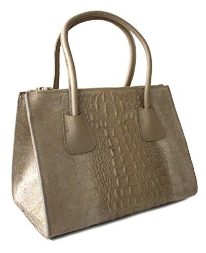 Sa Lucca elegante echt Leder-Tasche Kroko Wildleder Schultertasche Shopper Henkeltasche Damentasche taupe
