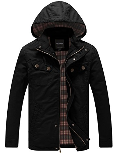 Wantdo Men's Cotton Lightweight Jacket with Removable Hood (Black, X-Large) by Wantdo