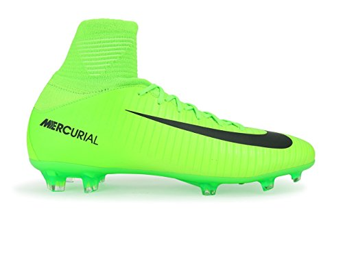 NIKE Kids Mercurial Superfly V FG Electric Green/Black/Flash Lime Soccer Shoes - 5.5Y