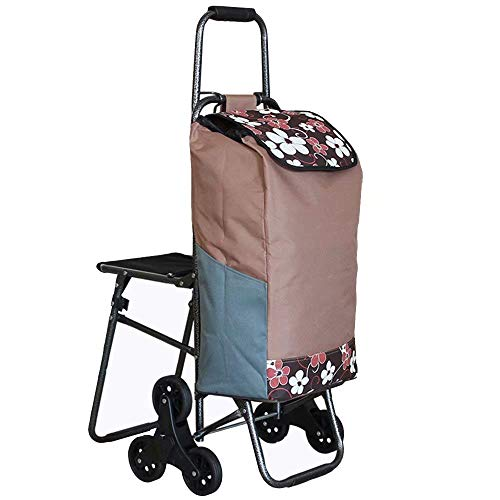 ZHAS WY-Hand Trucks Shopping Trolley 2 (6) Wheels - Premium Deluxe Design Foldable, Strong & Stable Mobility Aid, Grocery Cart, Height & Angle Adjustable Handle with Stool