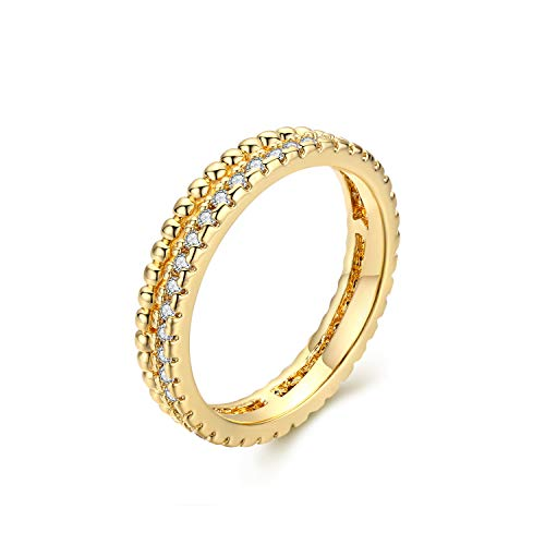 Valloey Rings for Women Dainty Handmade 14K Gold Fill Sterling Silver CZ Thin Beaded Crown Diamond Adjustable Stacking Rings Minimalist Jewelry Gift