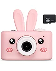 Abdtech Kids Camera Toys for 4-8 Year Olds Girls, Rechargeable Children Digital Cameras with Rabbit Cover for Girl Boys Shockproof 8MP with 16G SD Card Best Birthday Halloween