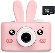 Abdtech Kids Camera Toys for 4-8 Year Olds Girls, Rechargeable Children Digital Cameras with Rabbit Cover for