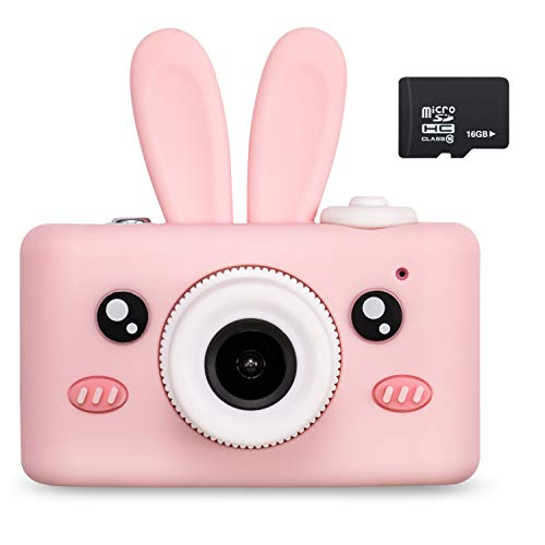 Abdtech Kids Camera Toys for 4-8 Year Old Girls, Rechargeable Children Digital Cameras with Rabbit Cover for Girl Boys Shockproof 8MP Mini Cam with 16G SD Card Best Idea Birthday Party Gift (Pink)