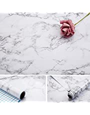 Marble Vinly Paper, 17×100inch Granite Gray/White Self Adhesive Wallpaper Roll Thick Waterproof Gloss Vinyl Film Stickers Oil Proof For kitchen Countertop Cabinet Furniture Shelf Liner
