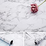 Marble Contact Paper,17x100 inch Self Adhesive Waterproof Gloss PVC Vinyl, Oil Proof,Marble/White Gray Granite Paper,Marble Vinyl Paper for Old Furniture Cover Surface,Countertop,Kitchen,Shelf Liner