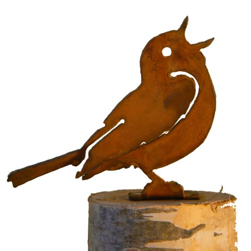 Elegant Garden Design Singing Warbler, Steel Silhouette with Rusty Patina
