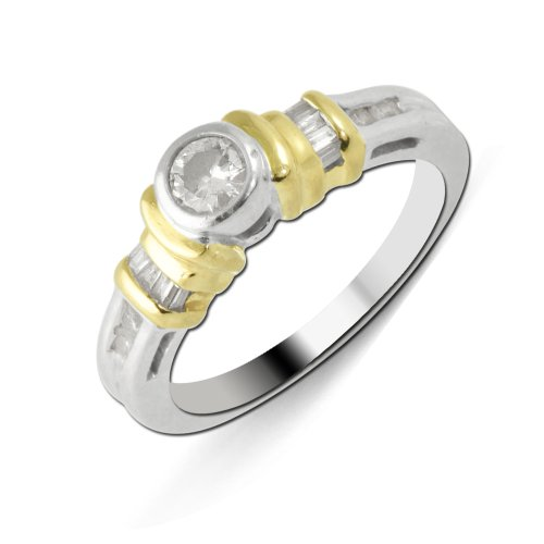 (TriJewels 0.50ctw White Round & Baguette Shape Diamond Two Tone Anniversary Ring 14K Gold.size 8)