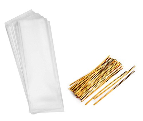 150 Cellophane Pretzel Candy Bags - Clear Long Candy Treat Bags For Birthday Favor Pretzel Icy Candy Popsicle (2 X 10 Inches), With Gold Twist Tie (6 Inches) by Orangoblue (Image #1)