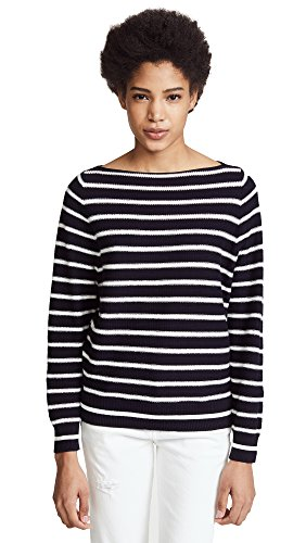 Vince Women's Waffle Raglan Tee, Coastal/Optic White, X-Small (Knit Tee Boat Neck)
