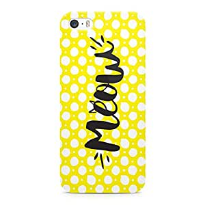 Loud Universe Meow Cat Lovers Yellow Polka Dot Printed Durable Wrap Around iPhone SE Case - Yellow