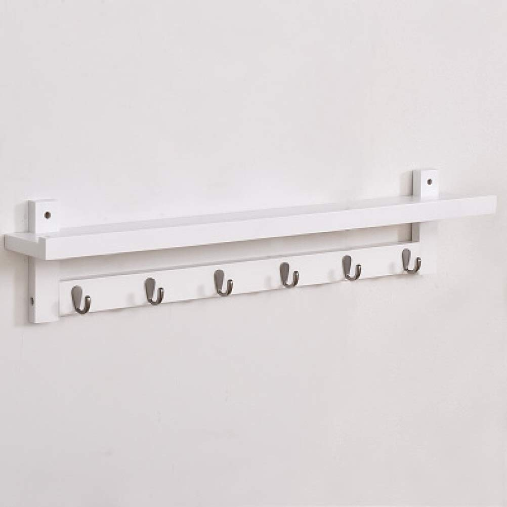 White 6 hooks WAN SAN QIAN- ♦ZWJ Wall-Mounted Coat Rack Multifunctional Solid Wood Decorative Storage Display Shelf with Hooks Shelf0331 (color   Brown, Size   3 Hooks)