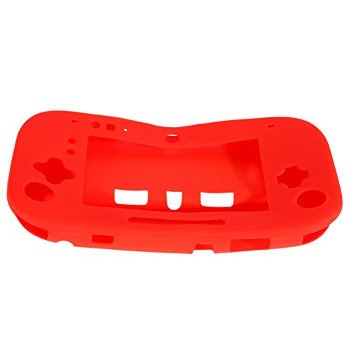 Chinatera Silicone Case Cover Skin Protector for Nintendo Wii U GamePad Controller (Red)
