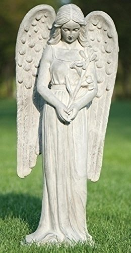 37'' Tall Graceful Angel Holding Flowers Inspirational Outdoor Garden Statue by Roman
