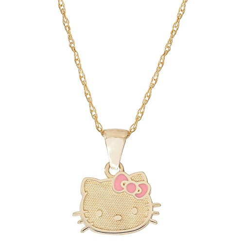 (Hello Kitty 10k Yellow Gold Pendant with Pink Bow, 18