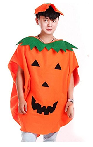 Halloween Pumpkin Costume Set for Family Parent Kids Orange Pumpkin Cosplay Suit Hat School Party Children Clothing Clothes Accessory (Adult Size (For Height 59-71))