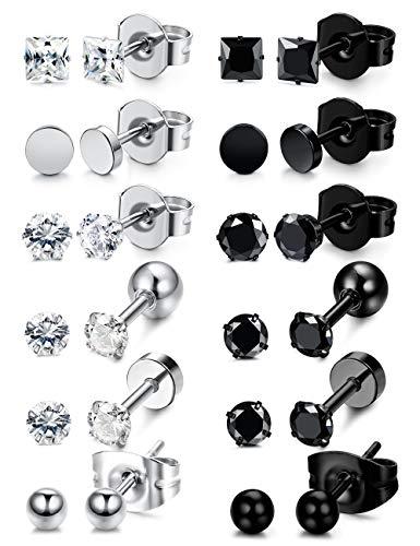 607ed9885b4c6 Besteel 12 Pairs Stainless Steel Black White Stud Earrings for Men ...