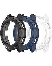 Chofit Ochraniacz kompatybilny z Samsung Galaxy Watch 4 Classic 42 mm 46 mm, etui ochronne TPU z pętlą pierścieniową przylepna osłona do Galaxy Watch4 Classic Smartwatch (46 mm, czarny niebieski + biały)