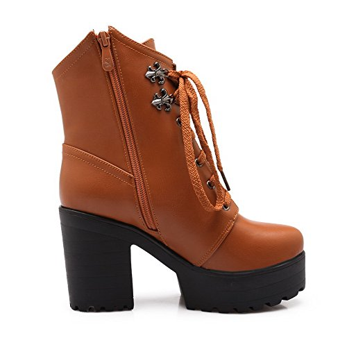 Yellow Women's AmoonyFashion High Round Toe and Closed with Toe Platform Ornament Metal Boots Heels SOqZO