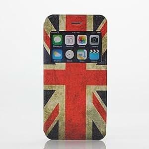 ZXM-Patrón de bandera británica pu abrir la funda de cuero ventana de cuerpo completo con soporte para el iphone 6