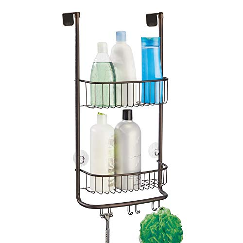Rod Shower Ginger (InterDesign Forma Metal Over the Shower Door Caddy for Shampoo, Conditioner, Body Wash, Soap, Razors, Loofahs, Sponges, 12