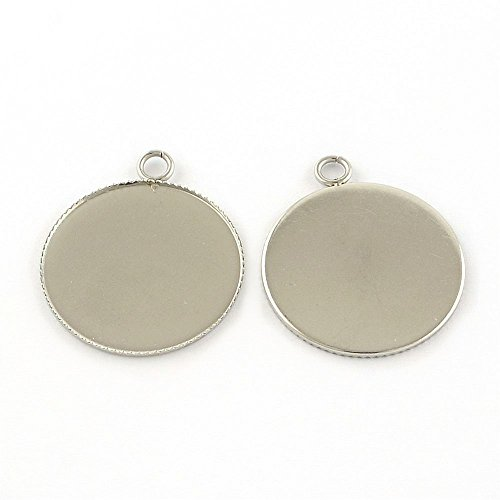 (Stainless Steel Cabochon Pendant Base- Hypoallergenic- Serrated Bezel 25mm)