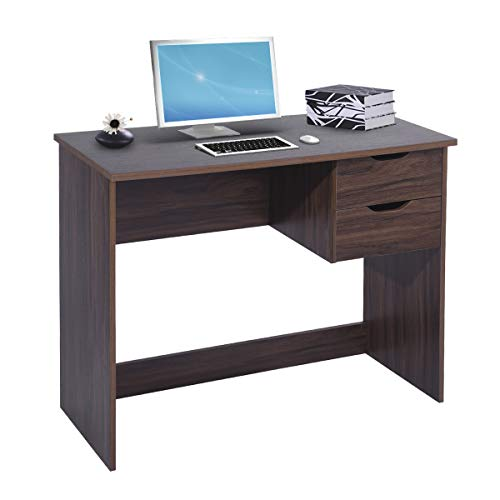 (Writing Computer Desk Study Table with 2 Side Drawers Classic Home Office Laptop Desk Walnut Brown Wood Notebook Table (35.4x17.7x29.1 Inches))
