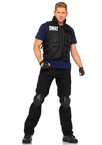 Leg Avenue Men's 4pc.swat Commander,Utility Vest,Shirt,Knee Pads,Fingerless