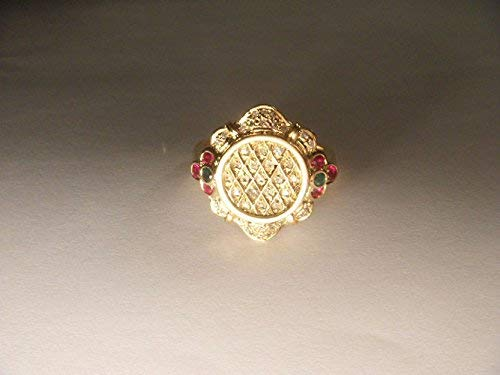 Gorgeous Etruscan Estate 14K Yellow Gold Pave Diamond Ruby Emerald Ring