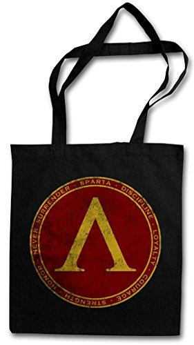 SPARTA Hipster Shopping Cotton Bag Borse riutilizzabili per la spesa – spartano Poleis Polis Never Surrender Discipline Honor Strength Courage Logo Insignia Zeichen 300 Leonidas