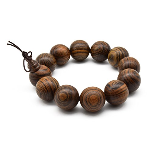 - Zen Dear Unisex Natural Tigerwood Mala Beads Buddhist Prayer Bracelet Link Wrist Necklace Chain Beads (20mm 12 Beads)