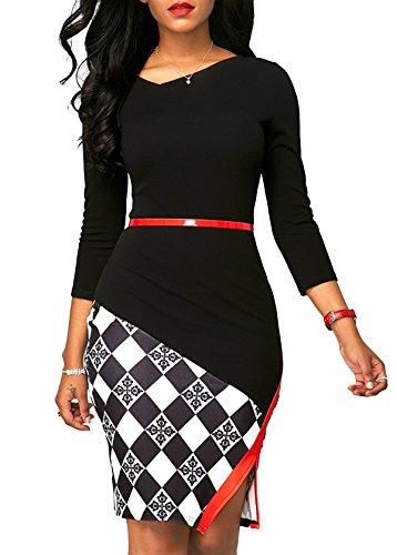 KISSMODA Womens 3/4 Sleeve Colorblock One Piece Work Dresses Dressy Sheath Dress Black XX-Large