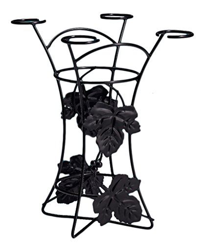 EdgeHome by Twain & Moss Decorative Party Wine Rack Wine Bottle and Glass Holder, Black,